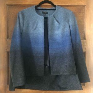 COS blue wool ombré hi-low collarless jacket M